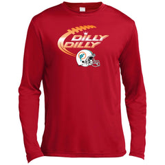 Miami Dolphins Mia Dilly Dilly Bud Light T Shirt Mens Long Sleeve Moisture Absorbing Shirt - PresentTees