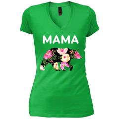 Mama Bear Floral  Gift For Mothers Day And Birthday Womens V-Neck T-Shirt Womens V-Neck T-Shirt - PresentTees