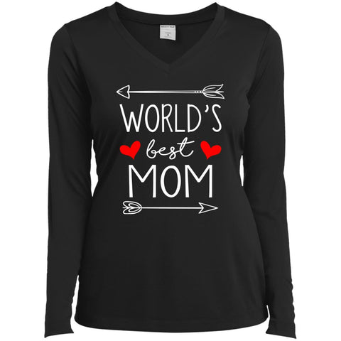 World's Best Mom Mothers Day Gift Ladies Long Sleeve V-Neck Black / X-Small Ladies Long Sleeve V-Neck - PresentTees