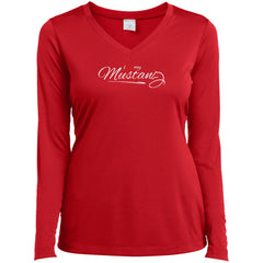 I Love My Mustang Shirt - Wild Horse Lovers T Shirt Ladies V-Neck Long Sleeve Shirt - PresentTees