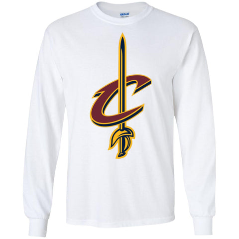 Cleveland Cavaliers Basketball Logo  Nba Mens Long Sleeve Shirt White / S Mens Long Sleeve Shirt - PresentTees