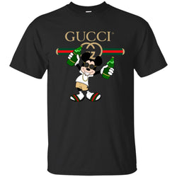 Gucci Mickey Mouse Drink Beer T-shirt Men Cotton T-Shirt