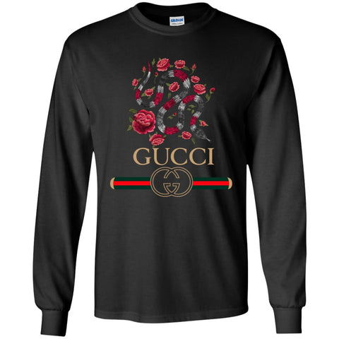 Gucci Logo T-shirt Snake 2018 Men Long Sleeve Shirt Black / S Men Long Sleeve Shirt - PresentTees