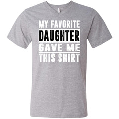 My Favorite Daughter Gave Me This Tshirt - Mothers Day Fathers Day Gift From Daughter Heather Grey Mens V-Neck T-Shirt Mens V-Neck T-Shirt - PresentTees