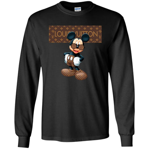 Best Louis Vuitton Mickey Mouse Shirt Men Long Sleeve Shirt Black / S Men Long Sleeve Shirt - PresentTees