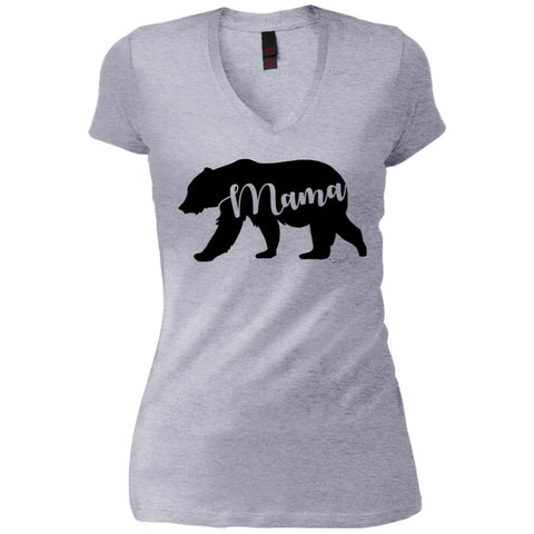 Mama Bear T- Shirt - Mothers Day Or Birthday Gift For Womens Heathered Grey Womens V-Neck T-Shirt Heathered Grey / S Womens V-Neck T-Shirt - PresentTees