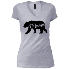 Mama Bear T- Shirt - Mothers Day Or Birthday Gift For Womens Heathered Grey Womens V-Neck T-Shirt Womens V-Neck T-Shirt - PresentTees