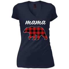 Mama Bear T Shirt For Mom And Grandma On Mothers Day Or Birthday New Navy Womens V-Neck T-Shirt Womens V-Neck T-Shirt - PresentTees