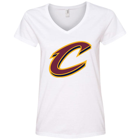 Cleveland Cavaliers Nba Basketball Womens V-Neck T-Shirt White / S Womens V-Neck T-Shirt - PresentTees