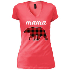 Mama Bear T Shirt For Mom And Grandma On Mothers Day Or Birthday Coral Womens V-Neck T-Shirt Womens V-Neck T-Shirt - PresentTees