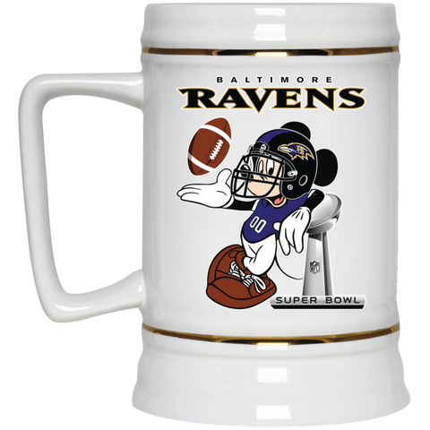 4696a5d4 Nfl Baltimore Ravens Mickey Mouse Super Bowl Football Beer Stein 22 oz