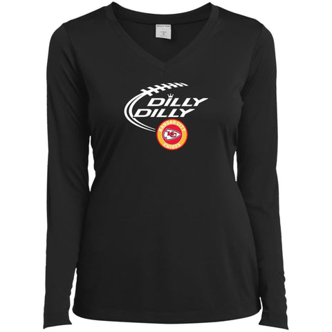Dilly Dilly Kansas City Chiefs Shirt For Men And Women Black / X-Small Ladies V-Neck Long Sleeve Shirt - PresentTees