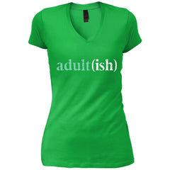 Adultish  Shirt Funny Adultish Adult-ish Sarcastic Shirt Womens V-Neck T-Shirt - PresentTees