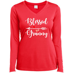 Blessed Granny Shirt - Mothers Day Gift For Granny Hot Coral Ladies Long Sleeve V-Neck Ladies Long Sleeve V-Neck - PresentTees