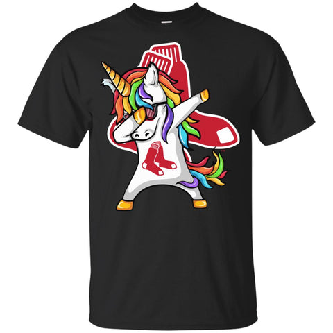 Unicorn Dabbing Boston Red Sox Baseball Mlb Shirt Black / YXS Youth Cotton T-Shirt - PresentTees
