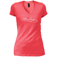 I Love My Mustang Shirt - Wild Horse Lovers T Shirt Womens V-Neck T-Shirt - PresentTees