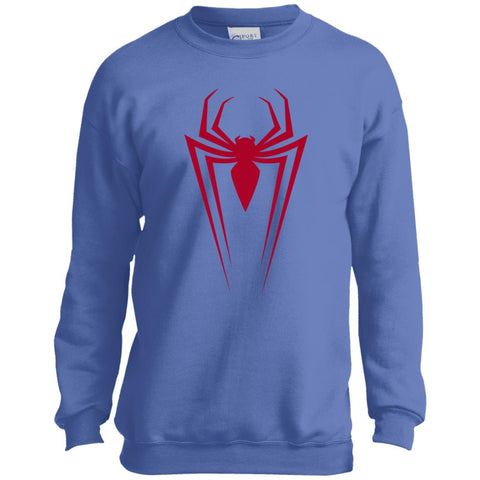Marvel Spider Man Icon Graphic Youth Crewneck Sweatshirt Carolina Blue / YXS Youth Crewneck Sweatshirt - PresentTees