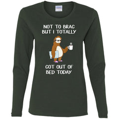Funny Sloth T-Shirt Sleepy Pajama T Shirt Got Out Of Bed Women's Long Sleeve T-Shirt T-Shirts - PresentTees