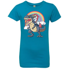 Unicorn Riding Dinosaur T Rex T Shirt Unicorns Rainbow Gifts Girls Princess T-Shirt Girls Princess T-Shirt - PresentTees