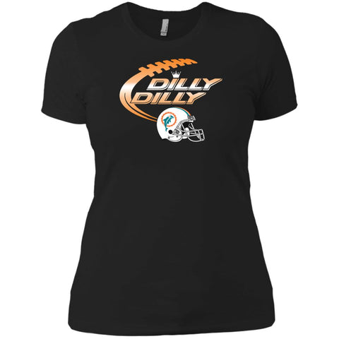 Miami Dolphins Mia Dilly Dilly Bud Light T Shirt Black / X-Small Ladies Boyfriend T-Shirt - PresentTees