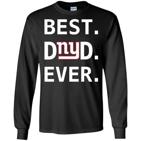 New York Giants Dad Best Dad Ever Fathers Day Shirt Mens Long Sleeve Shirt Black / S Mens Long Sleeve Shirt - PresentTees