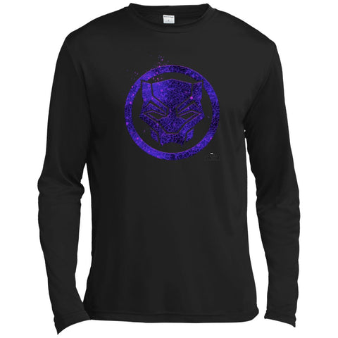 Marvel Black Panther Movie Purple Splatter Icon T-shirt Black / X-Small Mens Long Sleeve Moisture Absorbing Shirt - PresentTees