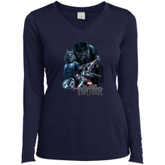 Marvel Black Panther Movie Okoye Nakia Group T-shirt Ladies V-Neck Long Sleeve Shirt - PresentTees