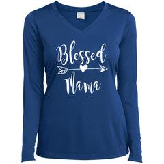 Blessed Mama Shirt - Mothers Day Gift For Mama And Grandma True Royal Ladies Long Sleeve V-Neck Ladies Long Sleeve V-Neck - PresentTees