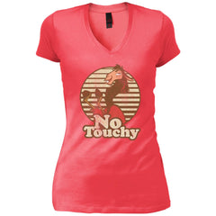 Disney Emperors New Groove Kuzco Llama No Touchy Shirt Coral Womens V-Neck T-Shirt Womens V-Neck T-Shirt - PresentTees
