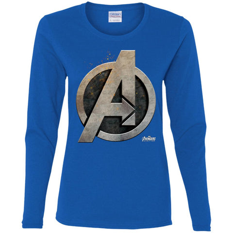 14198872 Marvel Avengers Infinity War Steel Symbol Graphic T-shirt Women Long Sleeve  Shirt Royal /