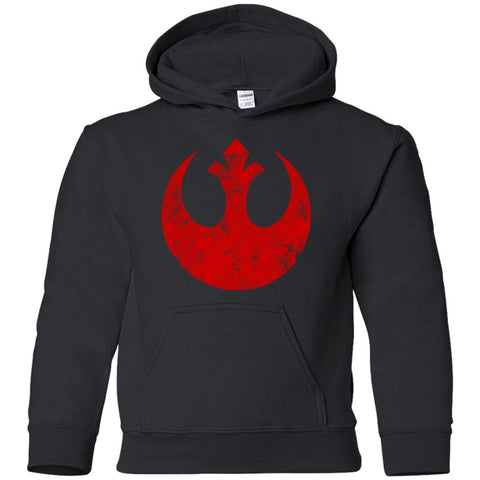 571f45ad028 Star Wars Big Red Rebel Alliance Distressed Logo Graphic Youth Pullover  Hoodie Black   YS Youth