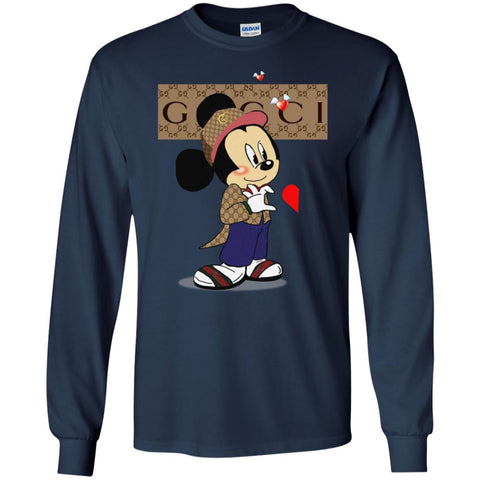 Couple Gucci Mickey Tshirt Valentine's Day Men Long Sleeve Shirt Black / S Men Long Sleeve Shirt - PresentTees
