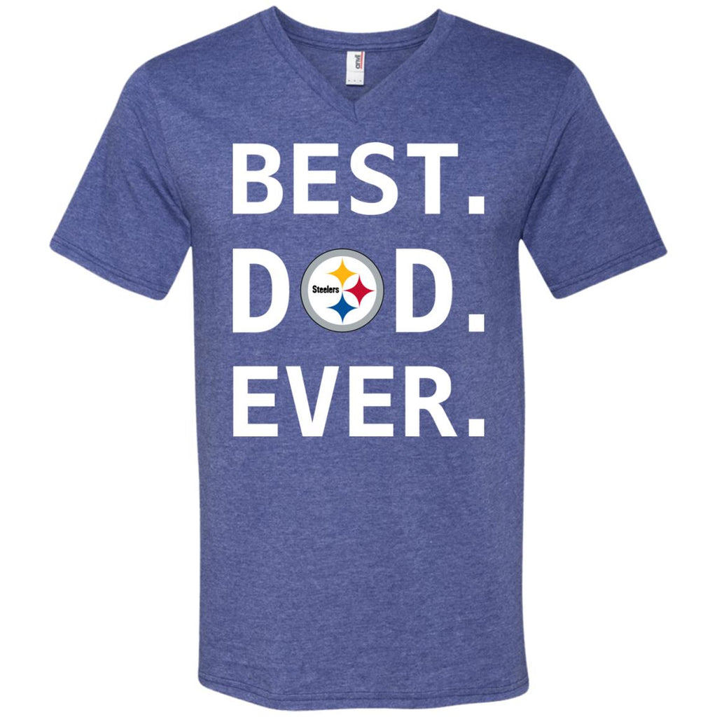 e4e98cbd Pittsburgh Steelers Dad Best Dad Ever Fathers Day Shirt Mens V-Neck T-Shirt