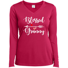 Blessed Granny Shirt - Mothers Day Gift For Granny Pink Raspberry Ladies Long Sleeve V-Neck Ladies Long Sleeve V-Neck - PresentTees
