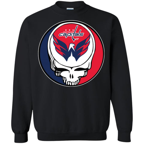 Washington Capitals Grateful Dead Steal Your Face Hockey Nhl Shirts  Crewneck Pullover Sweatshirt Black   S b0f28d478