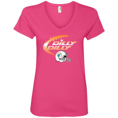 Miami Dolphins Mia Dilly Dilly Bud Light T Shirt Ladies V-Neck T-Shirt - PresentTees