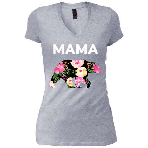Mama Bear Floral  Gift For Mothers Day And Birthday Womens V-Neck T-Shirt Heathered Grey / X-Small Womens V-Neck T-Shirt - PresentTees