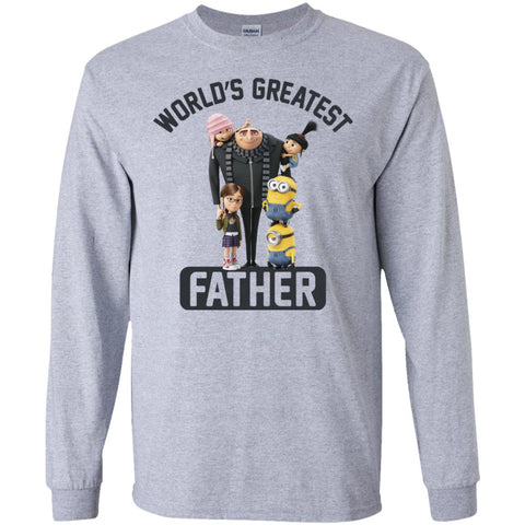 Despicable Me World's Greatest Father Gru Funny Fathers Day Gift Mens Long Sleeve Shirt Sport Grey / S Mens Long Sleeve Shirt - PresentTees