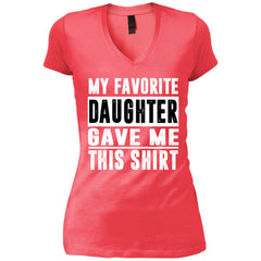 My Favorite Daughter Gave Me This Tshirt - Mothers Day Fathers Day Gift From Daughter Coral Womens V-Neck T-Shirt Womens V-Neck T-Shirt - PresentTees