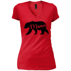 Mama Bear T- Shirt - Mothers Day Or Birthday Gift For Womens New Red Womens V-Neck T-Shirt Womens V-Neck T-Shirt - PresentTees