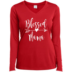 Blessed Mama Shirt - Mothers Day Gift For Mama And Grandma True Red Ladies Long Sleeve V-Neck Ladies Long Sleeve V-Neck - PresentTees