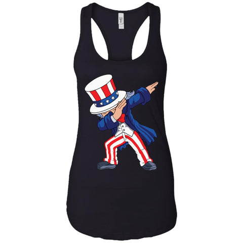 Dabbing Uncle Sam Shirt 4th Of July Independence T Shirt Ladies Racerback Tank Black / X-Small Ladies Racerback Tank - PresentTees