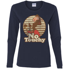 Disney Emperors New Groove Kuzco Llama No Touchy Shirt Navy Ladies Long Sleeve Shirt Ladies Long Sleeve Shirt - PresentTees