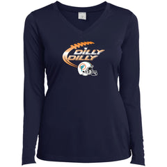 Miami Dolphins Mia Dilly Dilly Bud Light T Shirt Ladies V-Neck Long Sleeve Shirt - PresentTees
