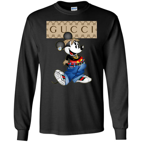 Gucci Mickey Mouse Trending T-shirt Men Long Sleeve Shirt Black / S Men Long Sleeve Shirt - PresentTees