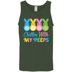 Bunny Easter Chillin With My Peeps Men Cotton Tank