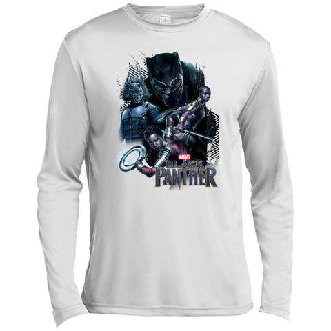 Marvel Black Panther Movie Okoye Nakia Group T-shirt White / X-Small Mens Long Sleeve Moisture Absorbing Shirt - PresentTees
