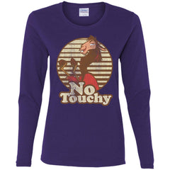 Disney Emperors New Groove Kuzco Llama No Touchy Shirt Purple Ladies Long Sleeve Shirt Ladies Long Sleeve Shirt - PresentTees