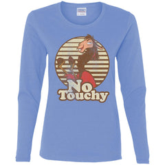 Disney Emperors New Groove Kuzco Llama No Touchy Shirt Carolina Blue Ladies Long Sleeve Shirt Ladies Long Sleeve Shirt - PresentTees