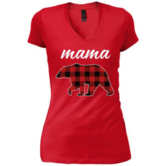 Mama Bear T Shirt For Mom And Grandma On Mothers Day Or Birthday New Red Womens V-Neck T-Shirt Womens V-Neck T-Shirt - PresentTees